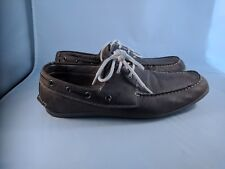 Steve Madden Mens Boat Shoe M-Grisly Size 10.5 Brown Leather Lined
