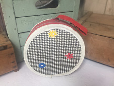 Vintage Round Hat Box Train Case Mid-Century Vinyl Loop Handle Retro Doll Tweed