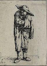Adriaen Jansz Van Ostade Dutch 1610-1685 Etching Peasant Hand in Cloak