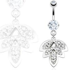 """Belly Button Piercing Silver """" Autumn Leaf """" Multi Zirconia from Coolbody"""