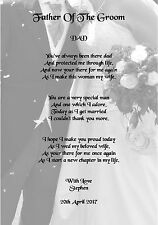 Wedding Day Thank You Gift, Father Of The Groom Poem A4 Photo