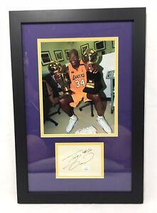 Shaquille O'Neal Signed Vintage Cut Framed JSA Coa Los Angeles Lakers