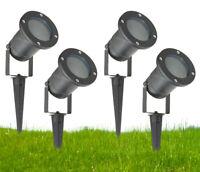 GU10 Outdoor Garden Spike Ground Mount Or Watt Light IP65 Matt Black Pack Of 4