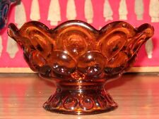 """Vintage L.E. Smith Glass Amber Moon and Stars Footed Bowl 4 1/4"""" H"""