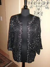 Chico's Silk Jacket - Sheer - Silver Metalic Thread - Size 1
