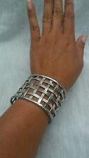 Beautiful Vtg. Statement Mexico JTE sterling 925 weave wide cuff  bracelet