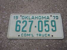 1970 Oklahoma COM'L TRUCK 627 059 White and Green License Plate only 1