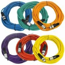 SEISMIC AUDIO (6 PACK) 50' XLR Microphone Cables Color