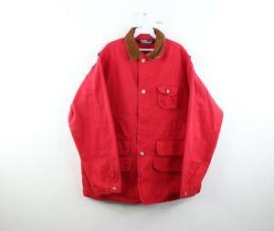 Vintage 90s Ralph Lauren Mens Medium Faded Corduroy Collar Chore Barn Jacket Red
