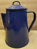 Vintage Dark Blue & White Graniteware Enamelware Coffee Pot W/ Grounds Holder
