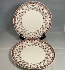 "Set of 2 Spode Fleur de Lys Brown 10 1/4"" Dinner Plates - Old England Backstamp"