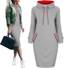 Fashion Women Casual Dress Long Sleeve Hoodie Hooded Jumper Pockets Sweater 2017