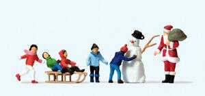 Preiser 10626 Weihnachtsmann, Kinder, Schneemann, H0