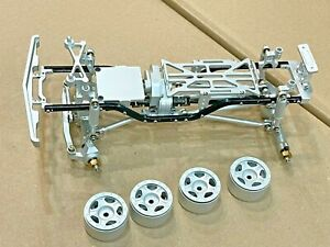 Full Aluminum Chassis With Wheels for Axial SCX24 Silver