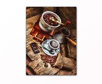 Küchenbild Kaffee Cafe gerahmt XXL Bild auf Leinwand moderne Wanddekoration