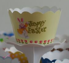 """12 KIDS Party """"HAPPY EASTER"""" Cupcake Wrappers-WORLDWIDE FREE SHIPPING"""