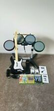 Rock Band Xbox 360 Bundle Guitar Controller 3 Games Mic Drums Stand+mic adapters