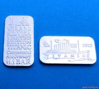1 Gramm Silberbarren TITANIC 100 Jahre 1g Silber Feinsilber Barren Schiff Neu