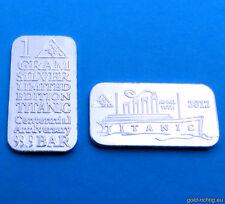 1 Gramm Silberbarren Titanic 100 Jahre (1g Silber Feinsilber Barren Schiff) NEU