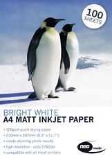 500 Sheets 100gsm A4 Matt Inkjet High Quality White Photo Paper NEO Media 100