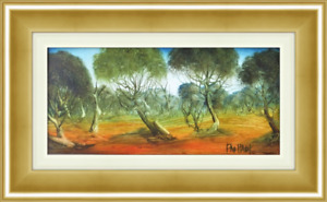 "Original Pro Hart Oil Painting ""4 Trees Landscape"" - BEST VALUE x SIZE on EBAY!!"