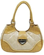 Lovely Tote handbag in pillowed white and yellow reptile skin faux leather