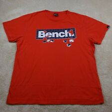 Bench T-Shirt Adult 2XL XXL Red Blue White Spell Out Logo Tee Cotton Top Mens