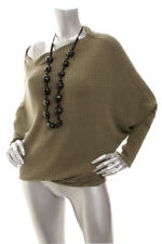 NEW FREE PEOPLE Women Thermal Mercury Round Hem Off shoulder Top  Washed Olive