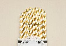 25 Gold Foil Striped Straws/Great Gatsby Decor/50th Birthday/Birthday Decoration