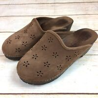ALPINE WOODS Womens Leather Wood Mules Clogs 7.5M Lasercut Made In Italy