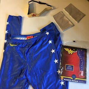 DC Wonder Woman Adult Leggings Tiara & Wrist Gauntlets Cuffs Full Costume Outfit