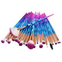 20PCS Pro Mermaid Glitter Makeup Brushes Set Powder Foundation Cosmetic Brus