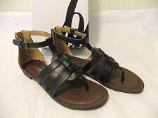NINE WEST Fairlady Black Gladiator Sandal Thong Size 8.5 NIB $70