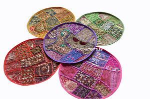 """INDIAN HANDMADE 16"""" ROUND COTTON PILLOW COVERS ETHNIC HOME DECOR NEW SET OF 5"""