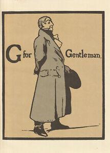 William Nicholson Woodcut Print 1898 G for Gentleman Alphabet Lithograph 1975