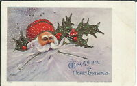 BA-130 A Merry Christmas Santa Claus and Holly 1901-1907 Undivided Back Postcard