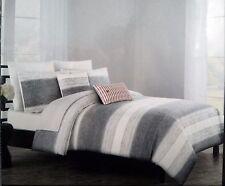Tahari Gray Stripes Yarn Dyed and Woven 3pc KING DUVET Cover SHAMS Set