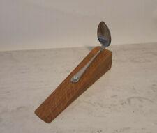 Handmade, elegant wood door stop wedge with vintage teaspoon handle. Unique gift