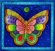 Laurel Burch FLYING COLORS #1 BUTTERFLIES Squares Fabric