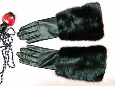 BLACK MINK FUR BLACK LEATHER Touchscreen GLOVES Sz.S-M Нoрка-Nerz-Visone-貂皮