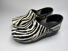 Dansko Zebra Print Patent Leather Clogs Shoes Women's Size 40, US 9.5-10