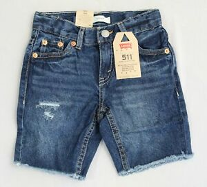 Levi's Boy's 511 Adjustable Waist Slim Cut-Off Denim Shorts AW7 Dark Wash Size 5