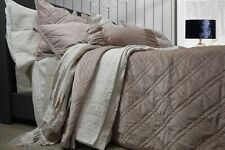 Blush Pink Luxe Velvet Cotton Bedspread Set - Single