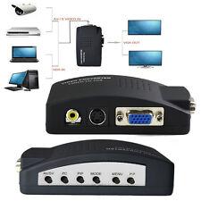 1080P TV RCA Composite S-Video AV To PC Mac VGA LCD Converter Adapter Box Black