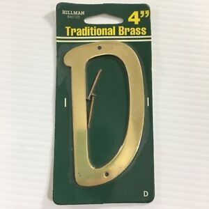 """Hillman Solid Brass Thin 4"""" House Address Letter You Pick A-E, N, W"""