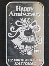 1983 National Happy Anniversary Silver Art Bar P0265