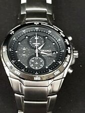 Seiko Watch100M Chronograph Quartz Mens Black Watch 7T92