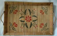 """Vintage Handmade 19"""" Woven Boho Grass Reed Stenciled Serving Tray ~ Unusual"""