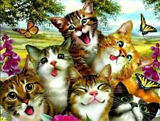 CATS WITH BUTTERFLIES, NOTE CARD,, BEAUTIFUL ART BY HOWARD ROBINSON