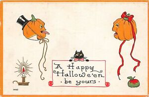 G70/ Halloween Postcard Holiday Greetings c1910 Jack-O-Lanterns Cat Candle 6